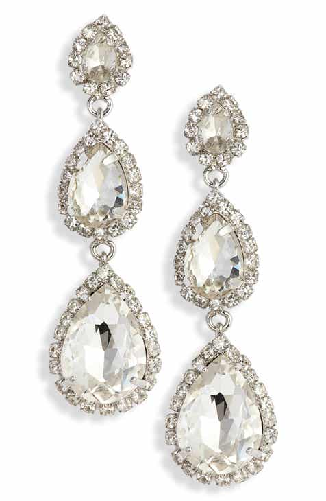 Crielle Triple Teardrop Crystal Drop Earrings