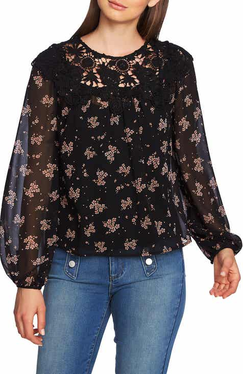 1.STATE Lace Inset Ditsy Top