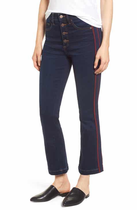 1.STATE High Rise Ribbon Stripe Kick Flare Button Fly Jeans
