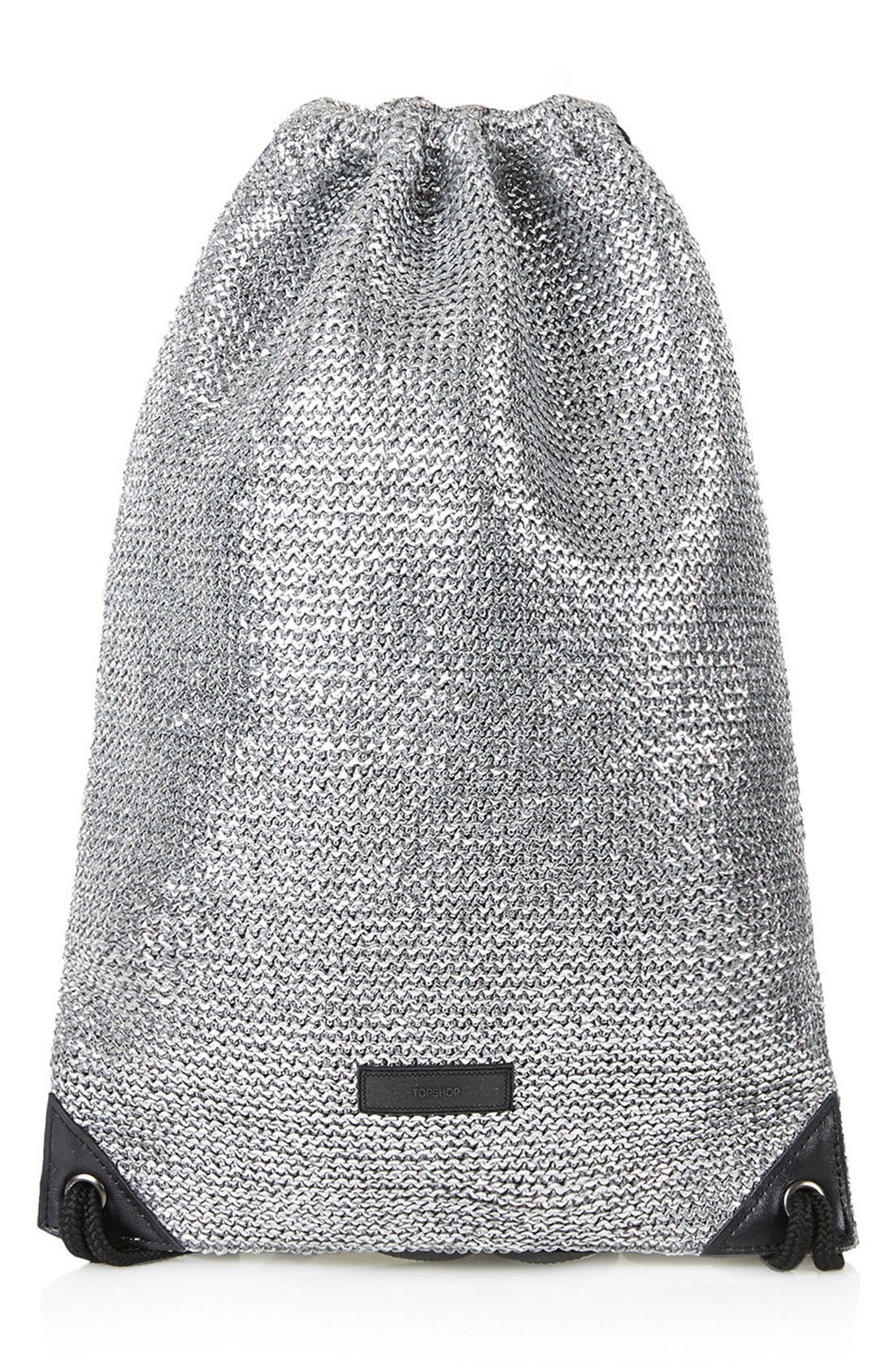 Alternate Image 1 Selected - Topshop 'Metallix' Woven Drawstring Bag