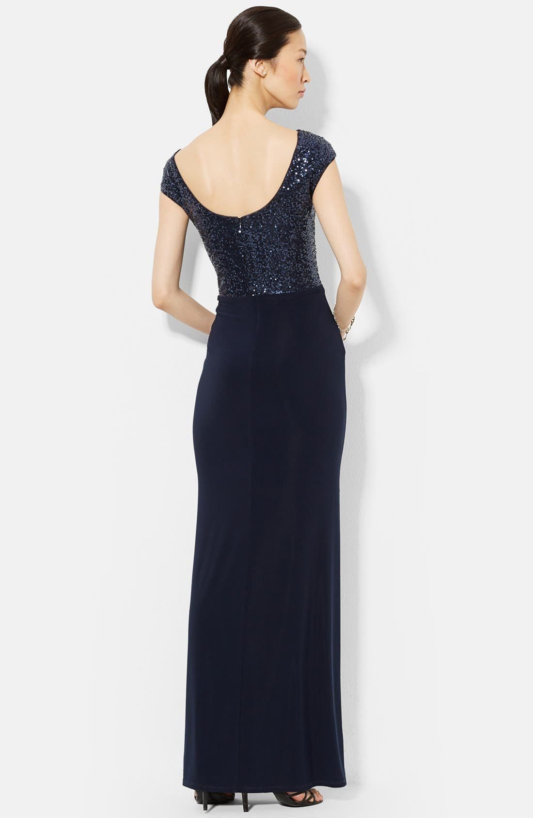 Alternate Image 2  - Lauren Ralph Lauren Sequin & Jersey Gown