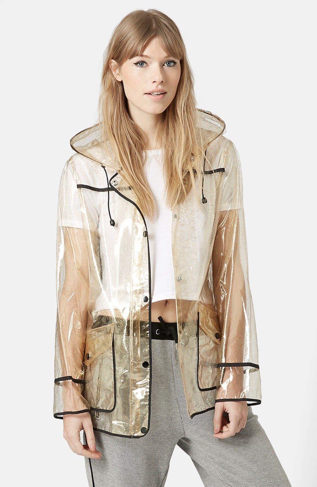 Gold Glitter Transparent Plastic Rain Jacket,                             Main thumbnail 1, color,                             Gold