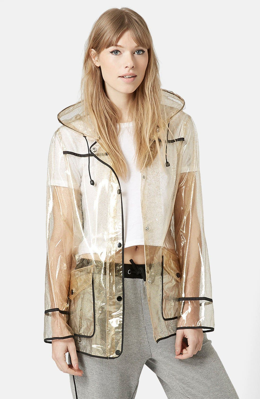 Gold Glitter Transparent Plastic Rain Jacket,                         Main,                         color, Gold