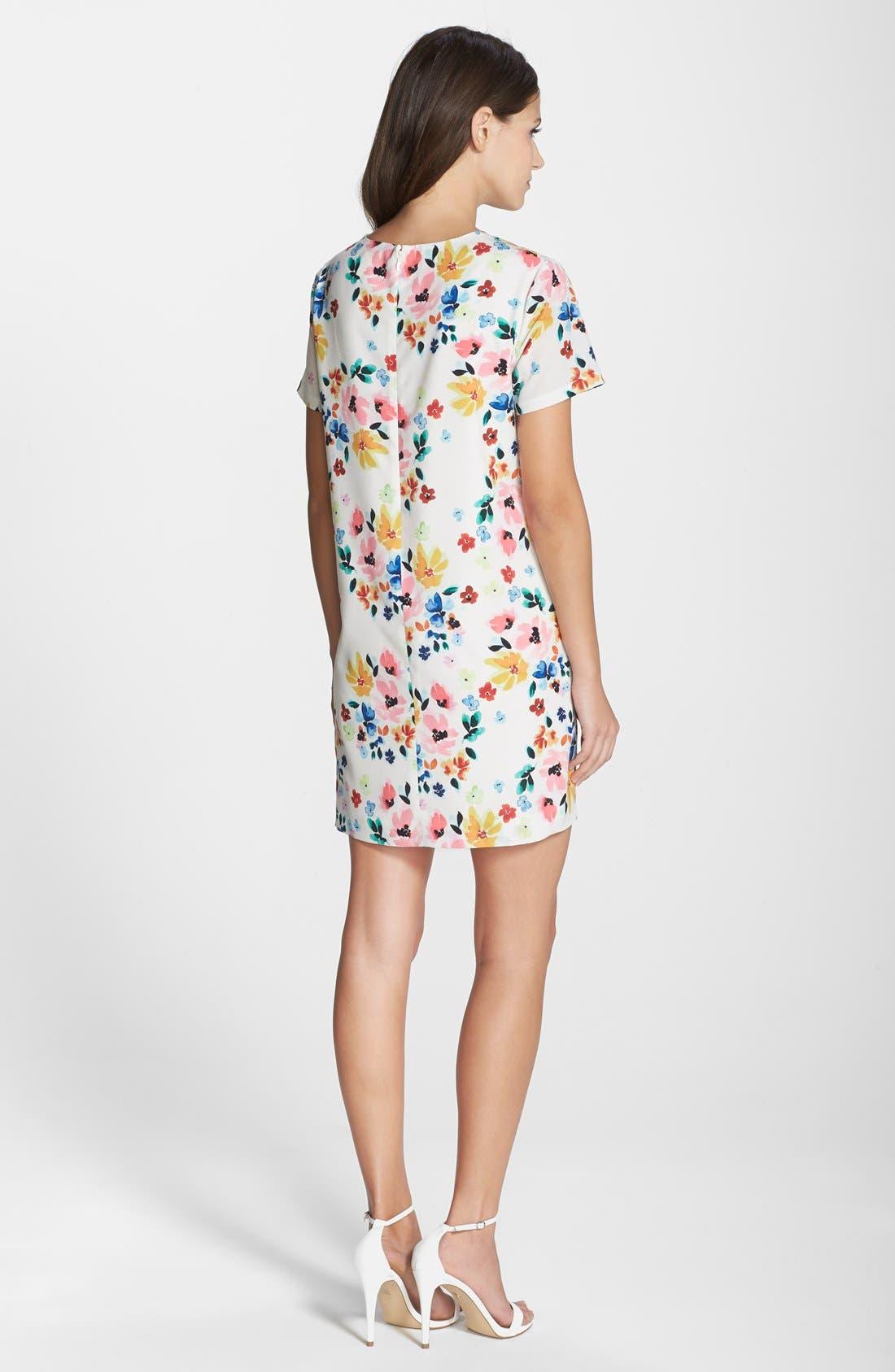 by Cynthia Steffe 'Kayte' Floral Print Shift Dress,                             Alternate thumbnail 2, color,                             Light Cream
