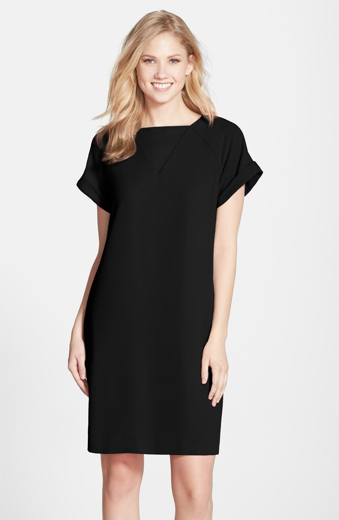by Andrew Marc Crepe Short Sleeve Shift Dress,                             Main thumbnail 1, color,                             Black