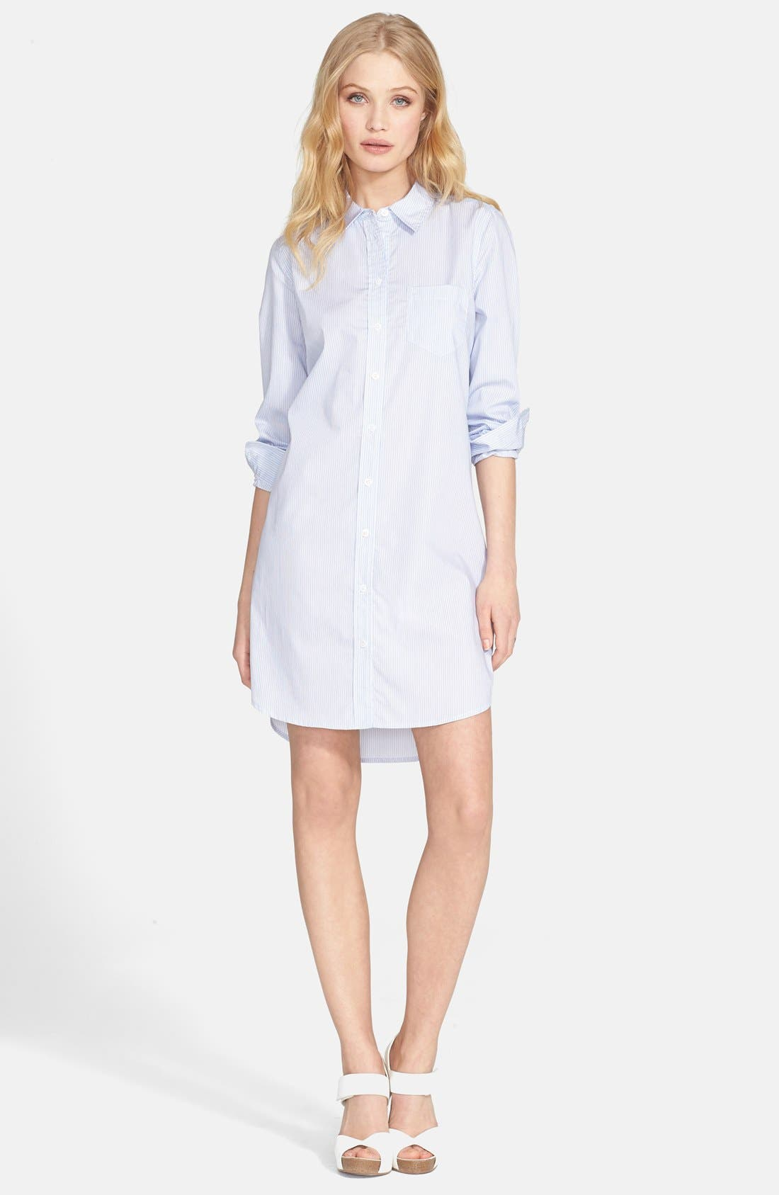 'Brett' Stripe Shirtdress,                             Main thumbnail 1, color,                             Periwinkle Blue/ Bright White