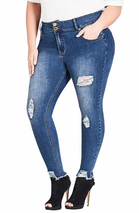 69c5d1b9f22 City Chic Asha Torn Up Skinny Jeans (Plus Size)