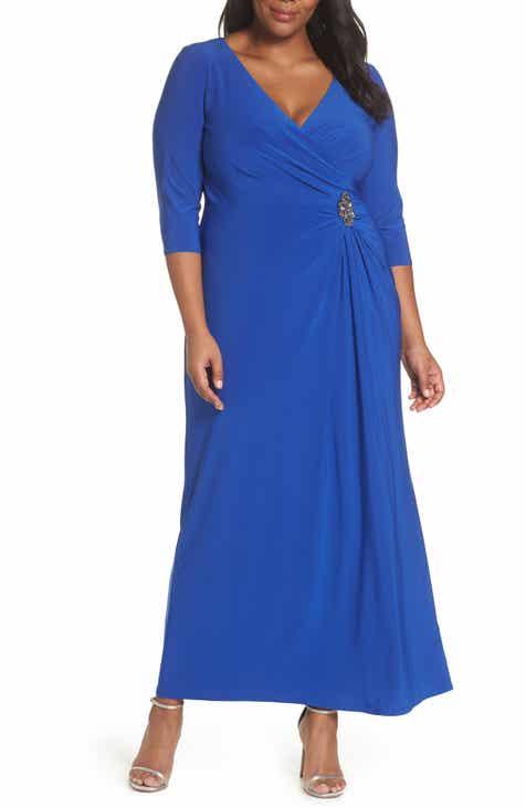 81cb8dc8b94e6 Alex Evenings Wrap Look A-Line Gown (Plus Size)