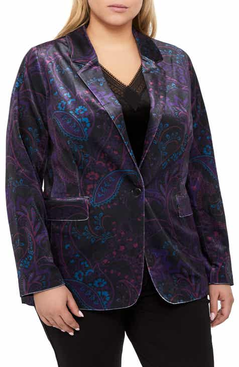2c18ed4948e Michel Studio Tapestry Pattern Stretch Velvet Blazer (Plus Size)
