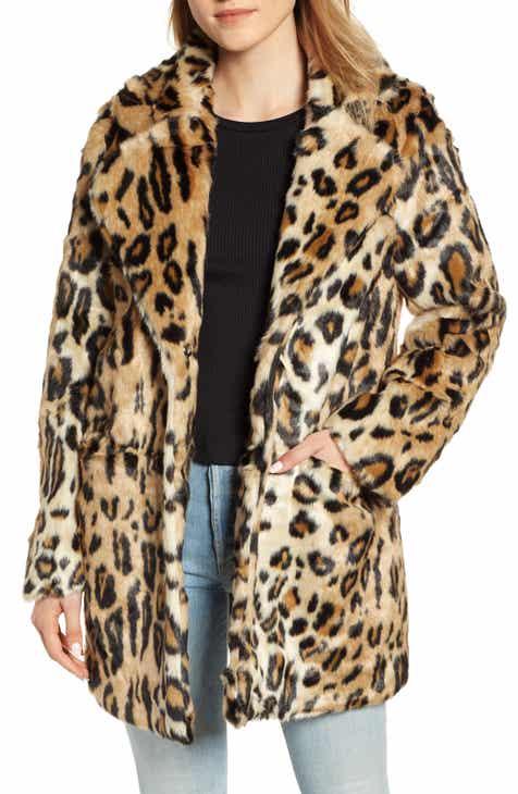 APPARIS Margot Leopard Print Faux Fur Coat 0968466bc