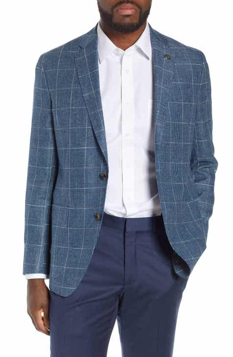 8e457972f724f8 Ted Baker London Kyle Trim Fit Plaid Linen   Wool Sport Coat