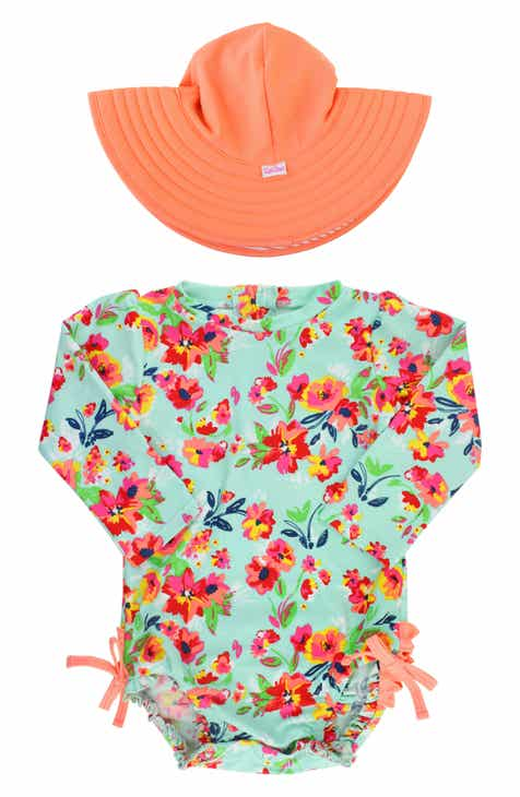 RuffleButts Floral One-Piece Rashguard Swimsuit   Hat Set (Baby) d35acf0595d
