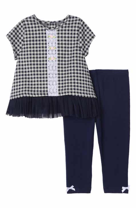 Pastourelle by Pippa & Julie Check Print Tunic & Leggings Set (Baby)