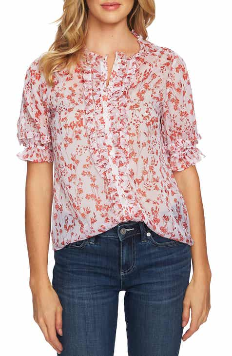 39ecd7890d2 CeCe Heirloom Floret Ruffle Detail Top
