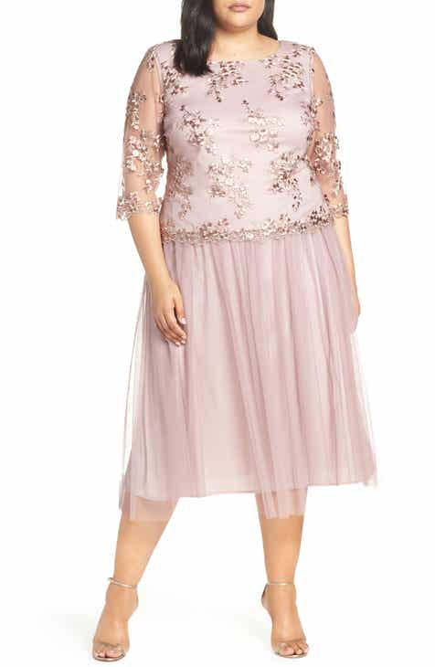 628e8a79cfb35 Alex Evenings Mock Two-Piece Tea Length Dress (Plus Size)