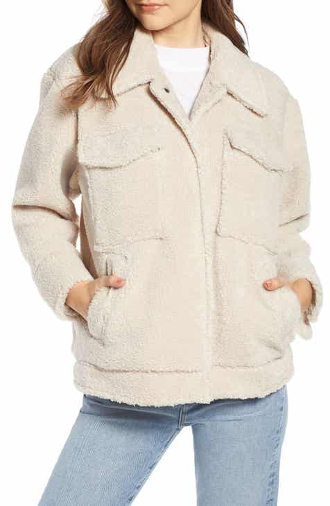 Something Navy Faux Shearling Jacket (Nordstrom Exclusive) e4828b203