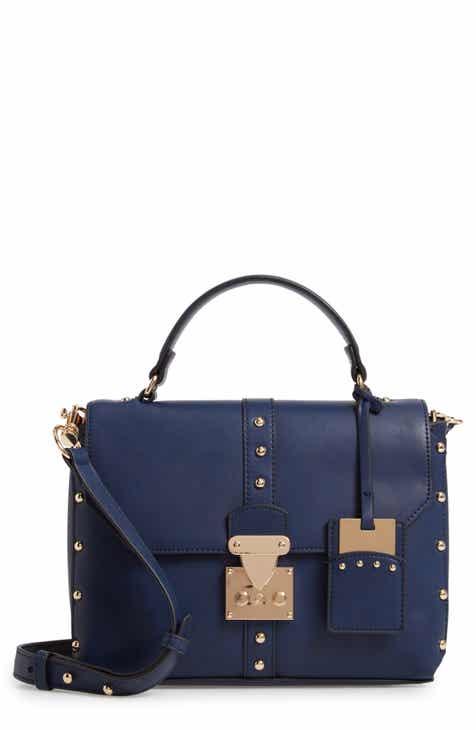 Cesca Studded Faux Leather Box Crossbody Bag