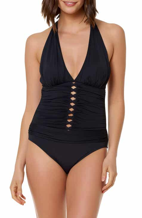 BLEU by Rod Beattie Mio Halter One-Piece Swimsuit by BLEU BY ROD BEATTIE