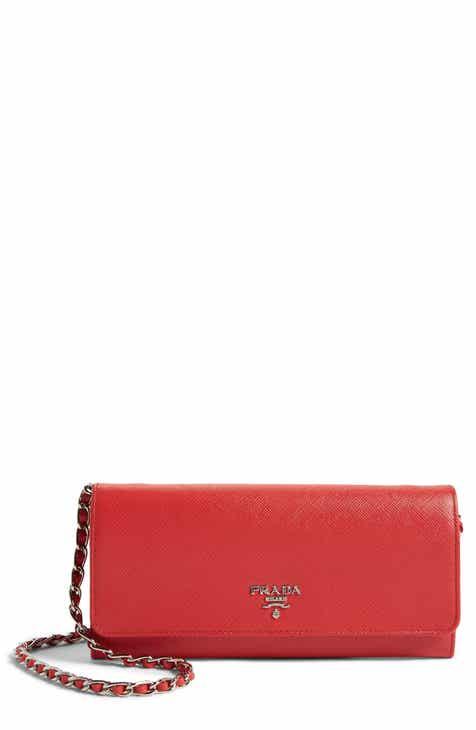 1e629f29f49 Prada Saffiano Metal Oro Flap Wallet on a Chain