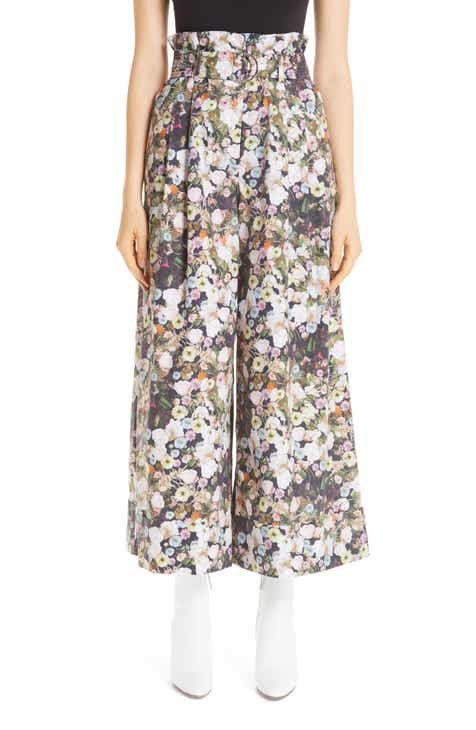 Adam Lippes Oversize Belted Floral Cotton Poplin Pants by ADAM LIPPES