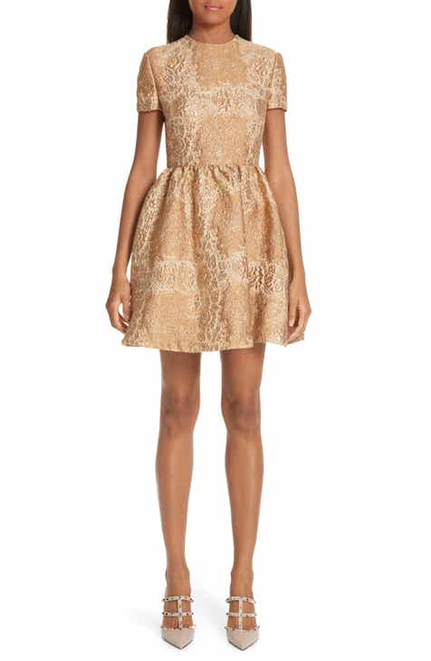 Valentino Floral Metallic Brocade Dress by VALENTINO
