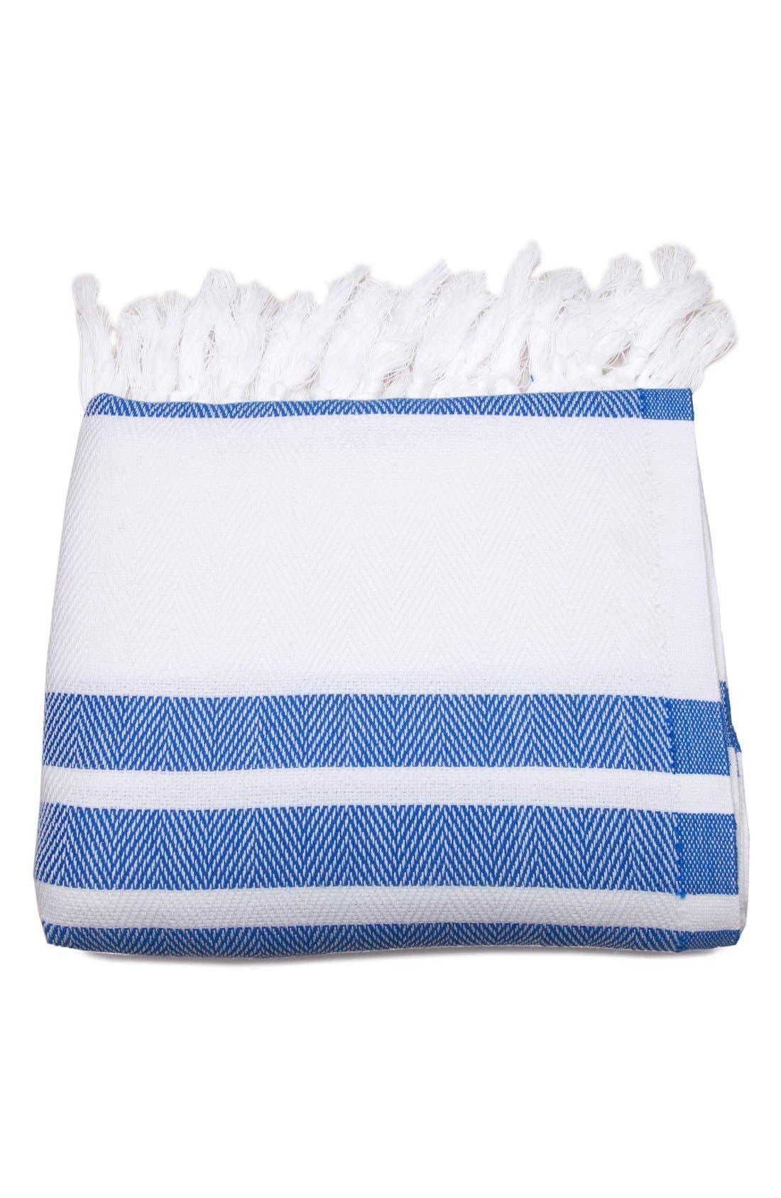 Herringbone Striped Turkish Pestemal Towel,                             Alternate thumbnail 2, color,                             Royal Blue/ White