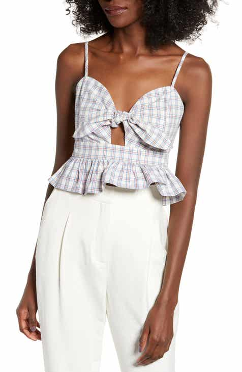 English Factory Plaid Tie Front Crop Top