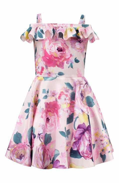5b233d68580a David Charles Floral Satin Off the Shoulder Dress (Big Girls)