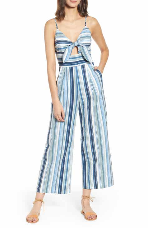 51542be4d803 MOON RIVER Front Tie Striped Jumpsuit