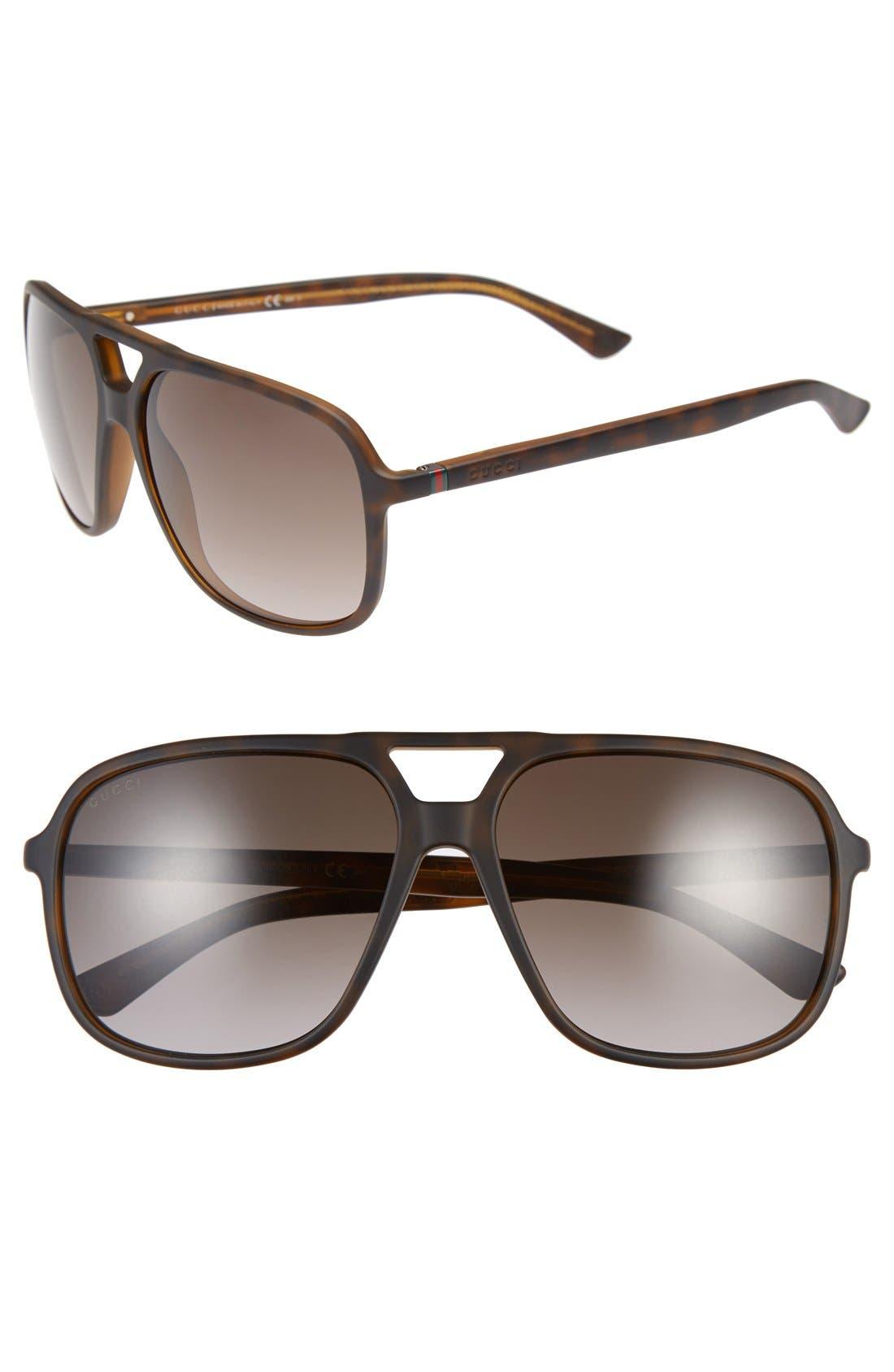 Alternate Image 1 Selected - Gucci 60mm Aviator Sunglasses