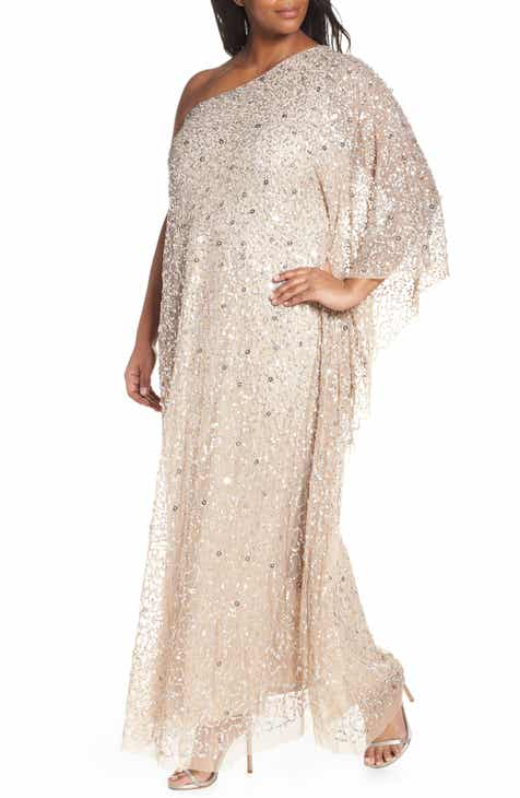 ac7c14e5567 Adrianna Papell One-Shoulder Beaded Evening Dress (Plus Size)