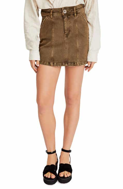 Free People Topstitch Detail Miniskirt by FREE PEOPLE