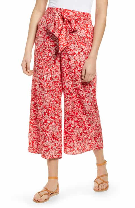 Hinge Print Wide Leg Crop Pants by HINGE