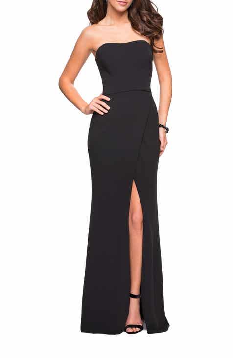 La Femme Strapless Jersey Evening Dress f675158239da