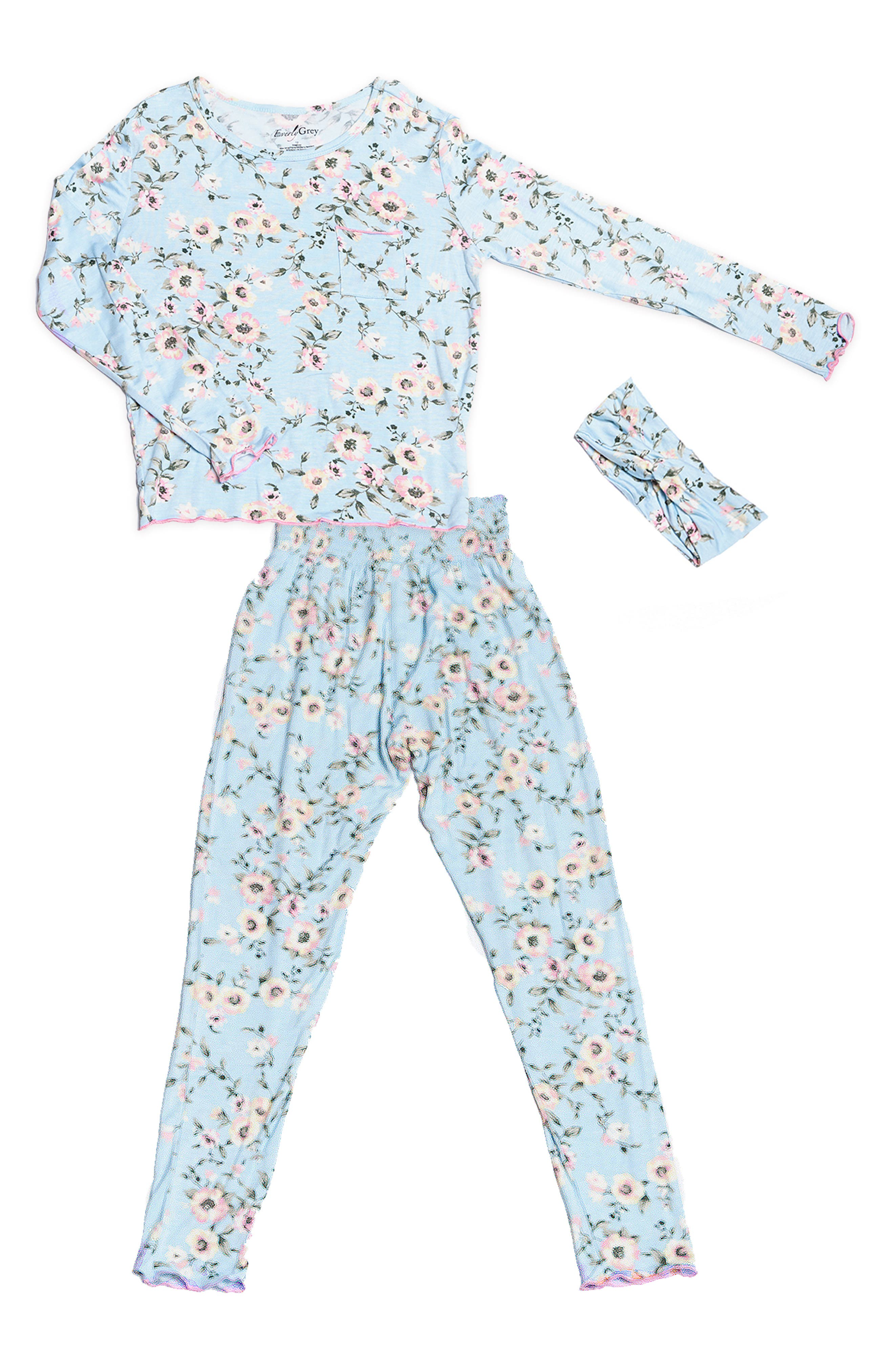 Baby Grey Charlie Fitted Two-Piece Pajamas \u0026 Head Wrap Set (Baby) Girl Sleepwear | Nordstrom