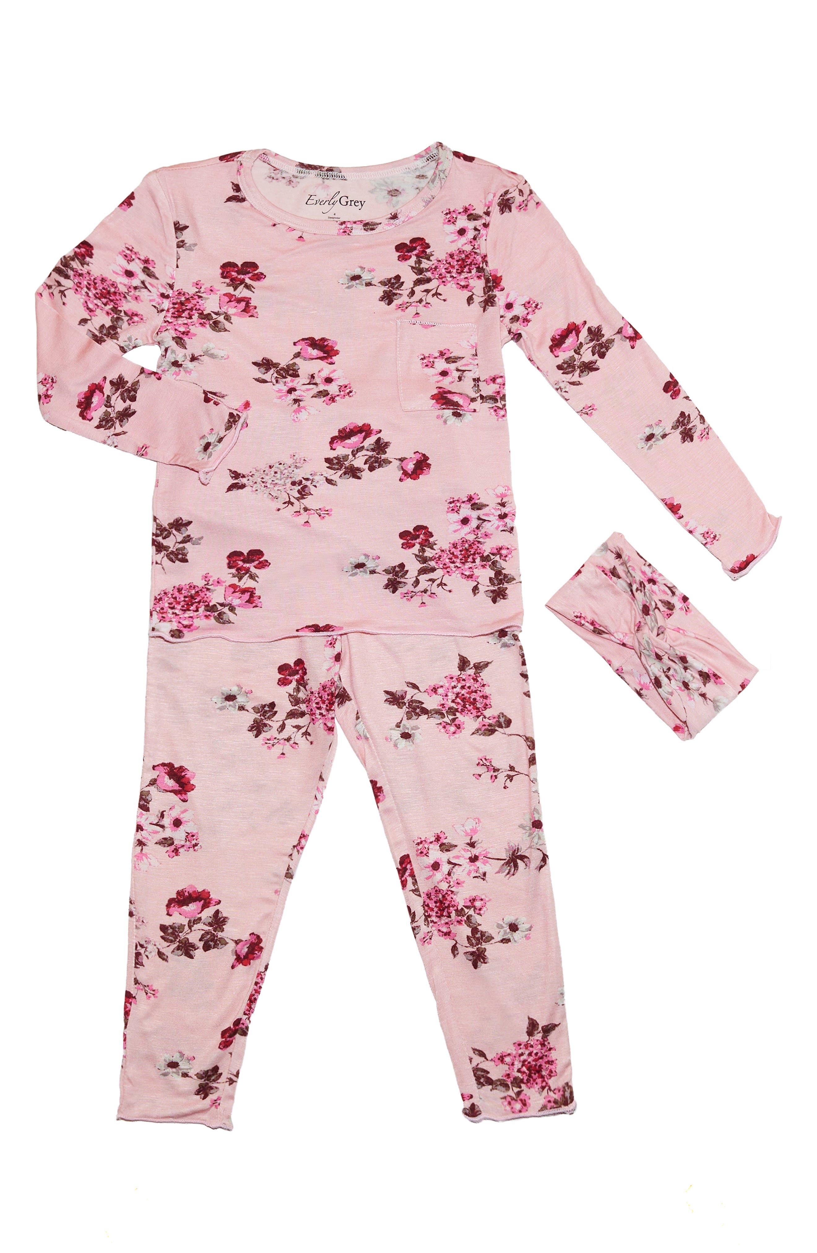 Baby Grey Charlie Fitted Two-Piece Pajamas \u0026 Head Wrap Set (Baby) Girl Sleepwear   Nordstrom
