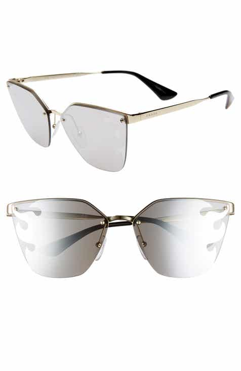 50b22a64cc Prada Cinéma 63mm Oversize Rimless Sunglasses.  430.00. Product Image. BLACK   GOLD MIRROR