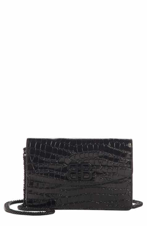d92e35ba61a Balenciaga BB Croc Embossed Leather Wallet on a Chain