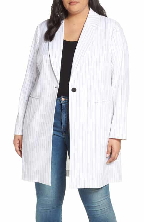 bda16b70358 Avec Les Filles Pinstripe Longline Blazer (Plus Size)