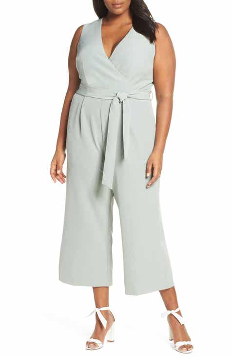 Vince Camuto Belted Jumpsuit (Plus Size)