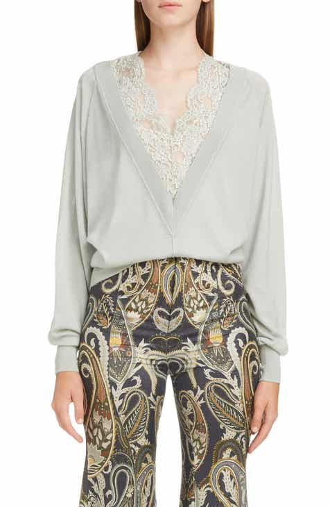 0d0f4dc7fb Chloé Plunging Lace Neck Wool   Silk Sweater