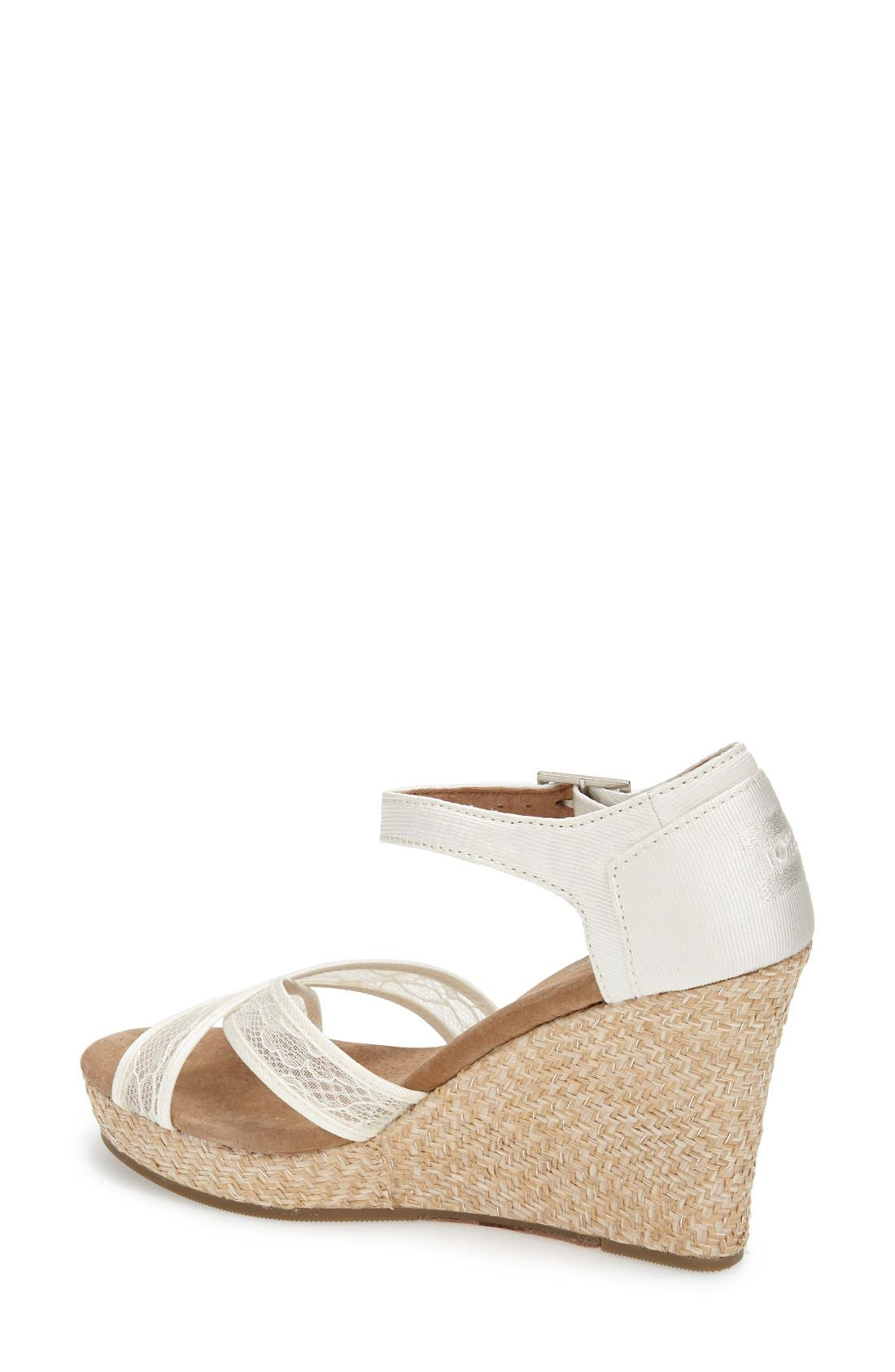 Alternate Image 2  - TOMS Lace & Grosgrain Ribbon Wedge Wedding Sandal (Women)