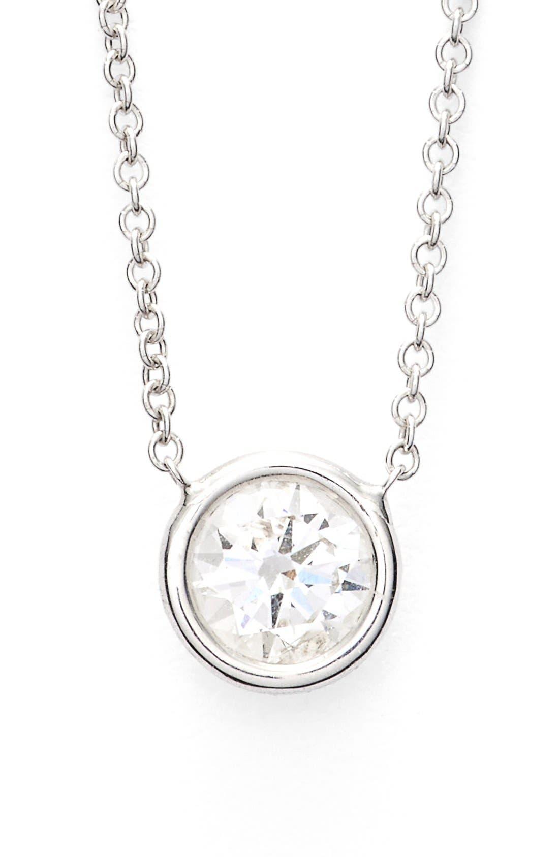 Large Diamond Solitaire Pendant Necklace,                             Main thumbnail 1, color,                             White Gold
