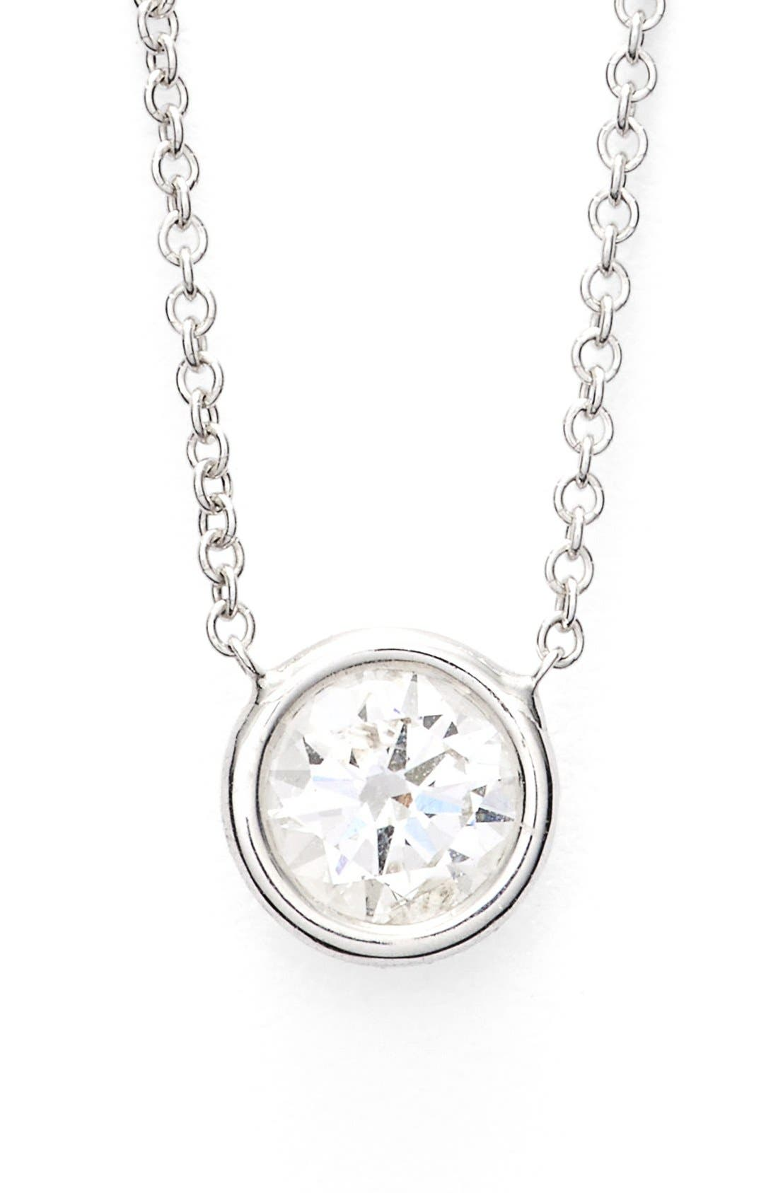 Large Diamond Solitaire Pendant Necklace,                         Main,                         color, White Gold