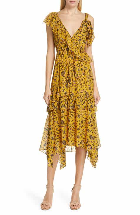 c03416848832 Ulla Johnson Dania Tiered Floral Print Midi Dress