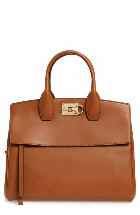851a6b6682 Salvatore Ferragamo Medium The Studio Calfskin Leather Top Handle Bag
