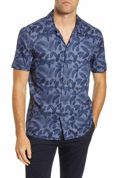 e5c1b90a French Connection Hawaiian Leaf Slim Fit Camp Shirt