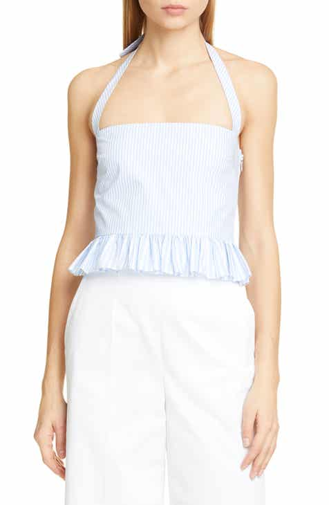 5bbe744d36fe5 RED Valentino Ruffle Trim Halter Top