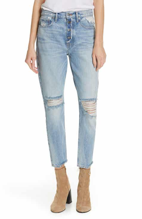 Madewell Distressed High Waist Slim Jeans (Tile White) by MADEWELL
