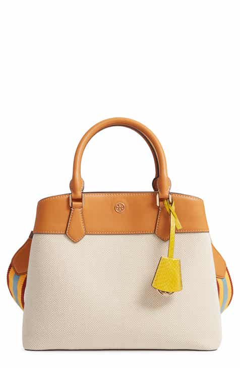 1613d6158454 Tory Burch Robinson Canvas   Leather Triple Compartment Bag